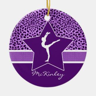 Gymnastics Purple Cheetah Print with Monogram Christmas Ornament