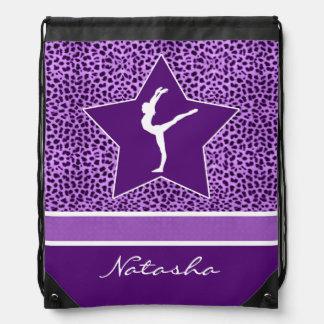 Gymnastics Purple Cheetah Print with Monogram Drawstring Bag