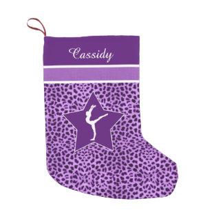 Gymnastics Purple Cheetah Print with Monogram Small Christmas Stocking