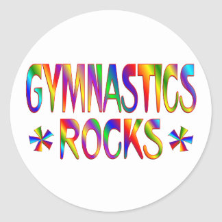 GYMNASTICS ROCKS CLASSIC ROUND STICKER