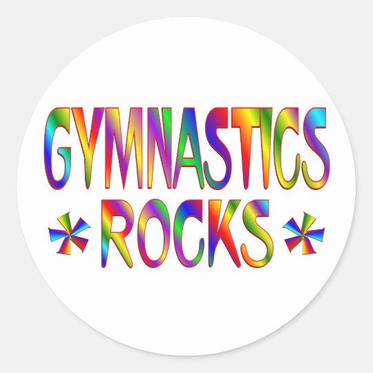 GYMNASTICS ROCKS CLASSIC ROUND STICKER