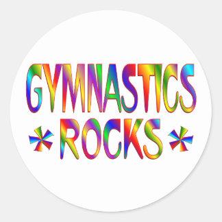 GYMNASTICS ROCKS ROUND STICKER