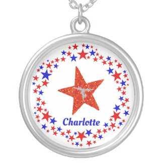 Gymnastics Stars Red White Blue Personalized Name Silver Plated Necklace