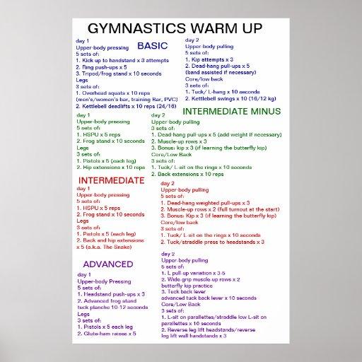 Gymnastics Warm-Up Posters