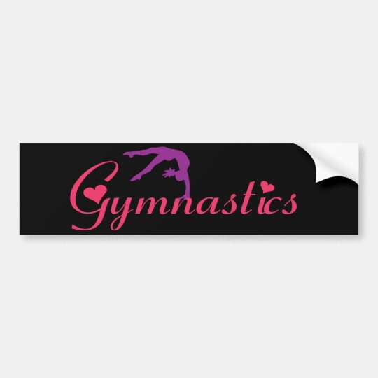 Gymnastics with Hearts Bumper Sticker