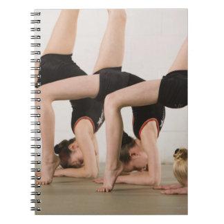 Gymnasts posing upside down notebook