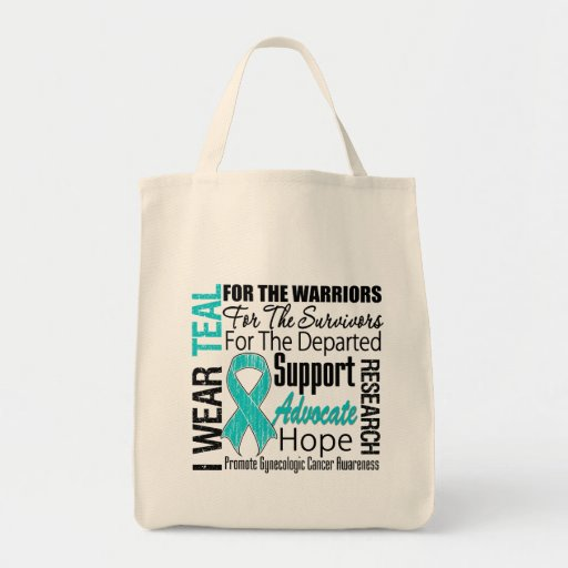 Gynaecologic Cancer I Wear Teal Ribbon TRIBUTE Grocery Tote Bag