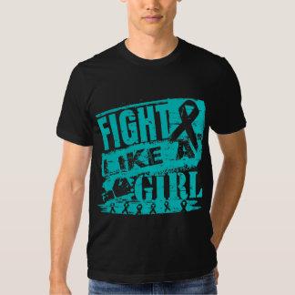 Gynecologic Cancer BurnOut Fight Like a Girl Tee Shirts