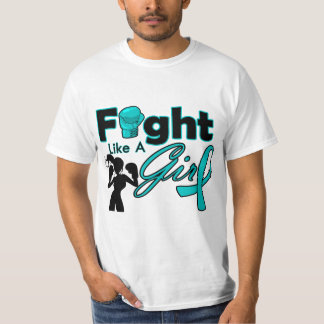 Gynecologic Cancer Fight Like A Girl Silhouette T Shirt