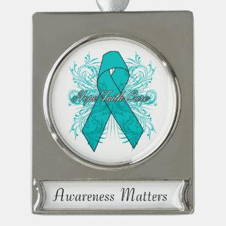 Gynecologic Cancer Flourish Hope Faith Cure Silver Plated Banner Ornament