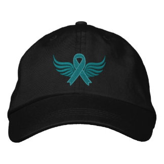 Gynecologic Cancer Ribbon Wings Embroidered Cap
