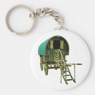 Gypsy bowtop caravan basic round button key ring