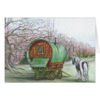 Gypsy bowtop wagon and horse card