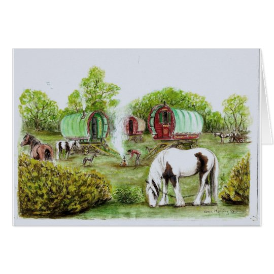Gypsy camp fire, bowtop wagons and horses card
