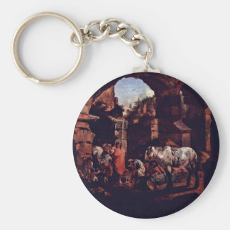 Gypsy Camps In Ancient Ruins By Roos Johann Heinri Keychains