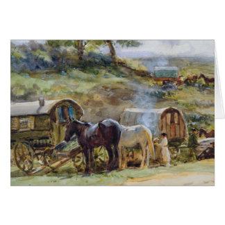 Gypsy Encampment, Appleby, 1919 Card