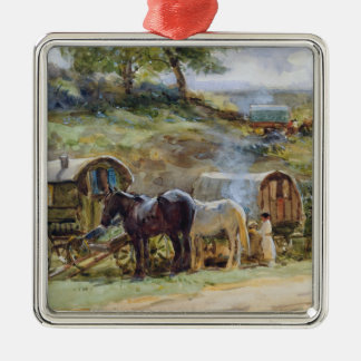 Gypsy Encampment, Appleby, 1919 Silver-Colored Square Decoration