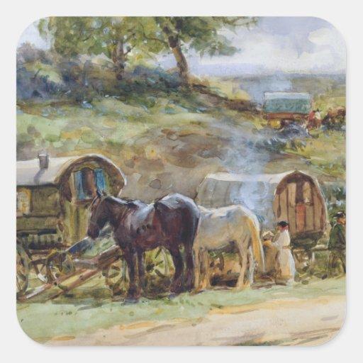 Gypsy Encampment, Appleby, 1919 Square Sticker