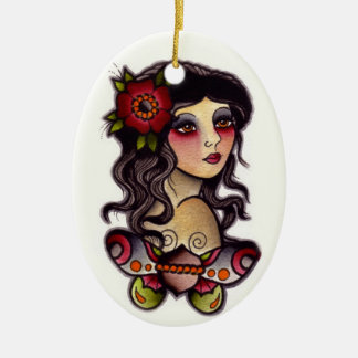 gypsy girl with butterfly ceramic oval decoration