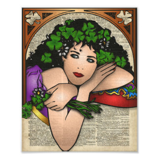 Gypsy Girl with Clovers Vintage Art On Book Page Photo Art