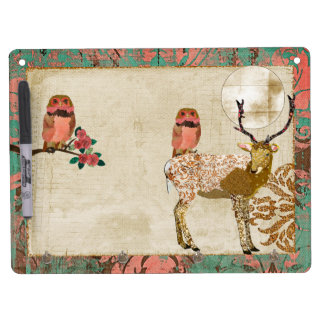 Gypsy Golden Pink Owls & Ornate Buck  Full Moon Dr Dry Erase Boards