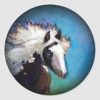 Gypsy Horse running passion colorful painting art Round Sticker