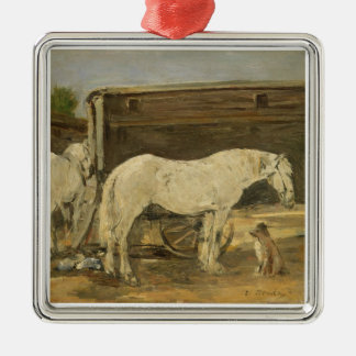 Gypsy Horses, c.1885-90 (oil on canvas) Silver-Colored Square Decoration