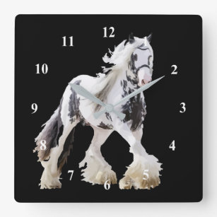 Gypsy Mare Stallion Draught   Horse Square Wall Clock