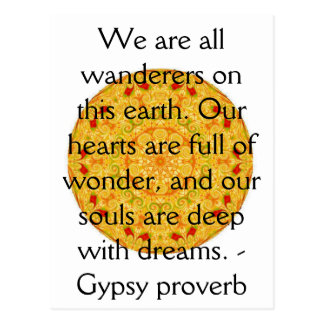 Gypsy Proverb wanderlust travel quote Postcard