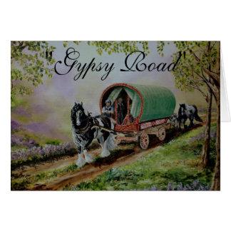 """""""Gypsy Road"""" Vanner horse, caravan poem Card"""