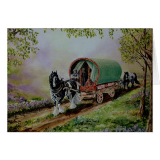 """Gypsy Road"" Vanner horse, Irish caravan Scotland Card"