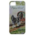 """Gypsy Road"" Vanner stallion horse caravan heather iPhone 5 Cover"