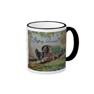 """Gypsy Road"" Vanner stallion horse caravan poem Ringer Mug"