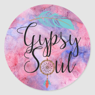 Gypsy Soul - Boho Flower Child Dreamcatcher Classic Round Sticker