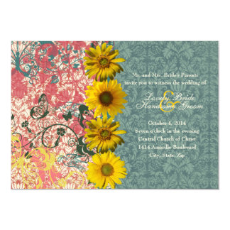 Gypsy Sunflower Boho Chic Wedding Invitations
