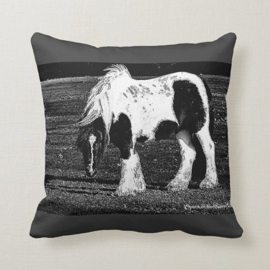 Gypsy Vanner Horse Photo art throw pillow