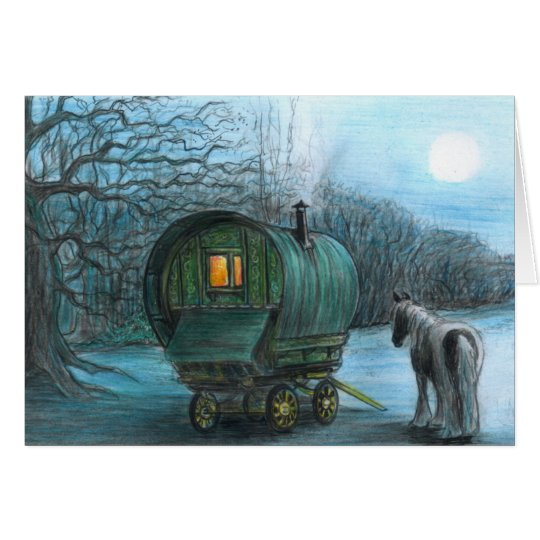 Gypsy wagon and horse by moonlight card
