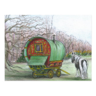 Gypsy Wagon and horse postcard