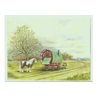 Gypsy wagon and horse spring day postcard