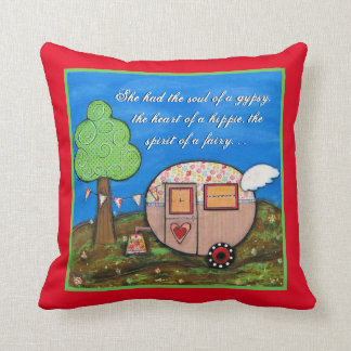 Gypsy Wagon, Camper Art, Soul of  Gypsy Cushion