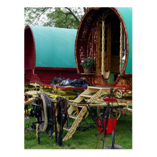 gypsy wagons postcard