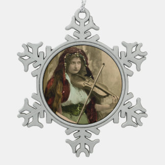 Gypsy Woman and Violin Snowflake Pewter Christmas Ornament