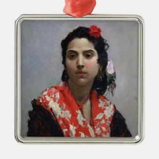 Gypsy Woman Silver-Colored Square Decoration