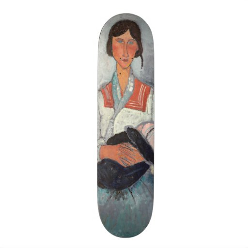 Gypsy Woman with Baby, 1919 (oil on canvas) Custom Skate Board