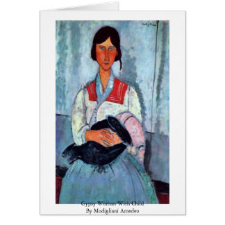 Gypsy Woman With Child By Modigliani Amedeo Card