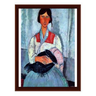 Gypsy Woman With Child By Modigliani Amedeo Post Card