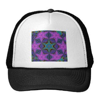 H1 Blue Snowflake Starburst Kaleidoscopic Mandala Cap