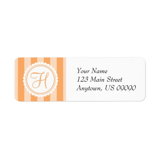 H Candy Striper Monogram Address Labels (Orange)