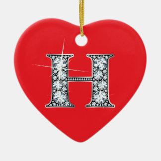 """H"" Diamond Bling on Red Ornament"