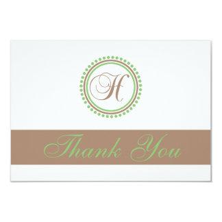 H Dot Circle Monogam Thank You Cards (Brown/Mint) Custom Invitation
